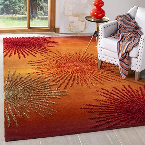 Safavieh Soho Collection SOH712R Handmade Fireworks Rust and Multicolored Premium Wool Area Rug 8 3 x 11