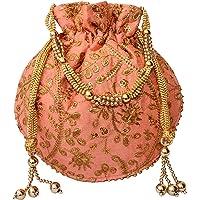 clickforall Women's Silk Ethnic Rajasthani Potli Bag/Purse (Multicolour,PO-19)
