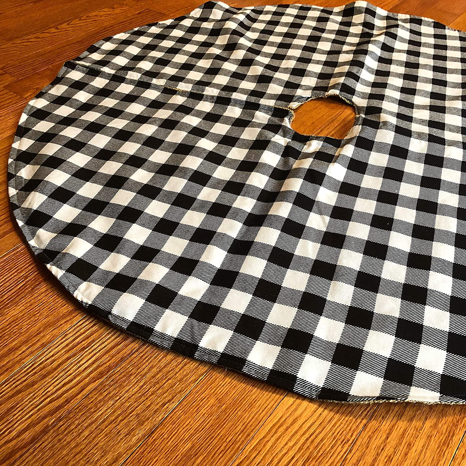 Buffalo Plaid & Natural Burlap Tree Skirt-Black & White Buffalo Check
