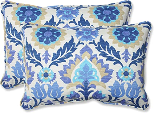 Pillow Perfect Outdoor Indoor Santa Maria Azure Oversized Lumbar Pillows, 24.5 x 16.5 , Blue, 2 Pack