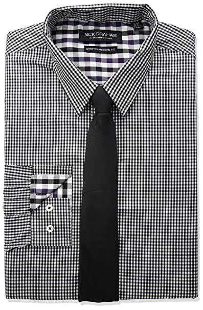 7738ef7344b Nick Graham Men s Modern Fitted Mini Gingham Stretch Shirt with Solid tie