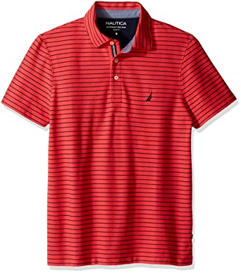 Nautica Men's Slim Fit Short Sleeve Striped Polo Shirt, Rose Coral, X-Small