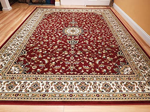 New Traditional Area Rugs 5×8 Persian Area Rug with Medallion 5×7 Red Cream Beige Rugs for Living Room Prime, 5×8 Carpet