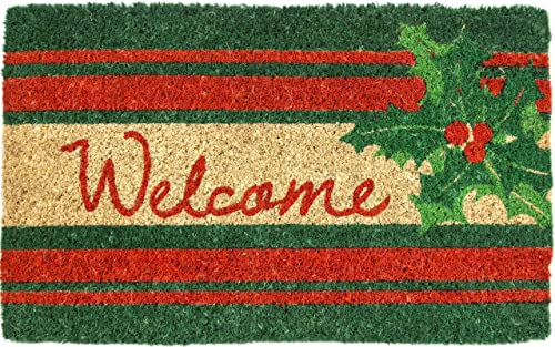 Entryways Welcome Holly , Hand-Stenciled, All-Natural Coconut Fiber Coir Doormat 18 X 30 x .75