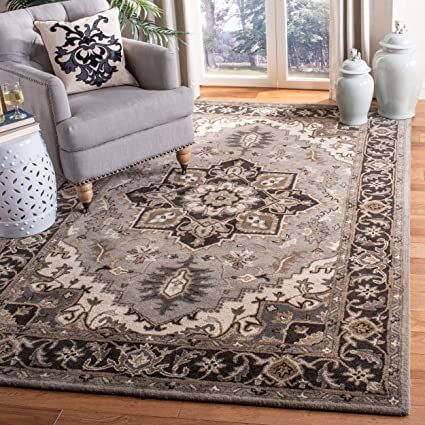 1de9b8252eaf9 Amazon.com: Safavieh ROY700G-4 Rug 4' x 6' Silver/Charcoal: Kitchen & Dining