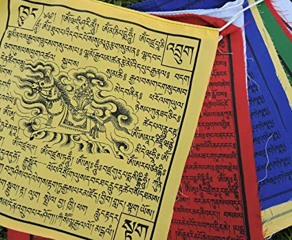 Large Cotton Tibetan Prayer Flags Wind Horse Green Tara Buddha of  Compassion Medicine Buddha Guru Rinpoche 10 Flags
