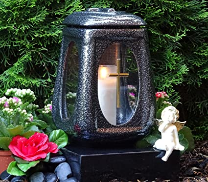 ? Grablaterne Grablicht Keramik Silber Glas Kreuz mit Grabkerze Grablampe Grabschmuck Grableuchte Laterne Grabkerze Lampe Ker