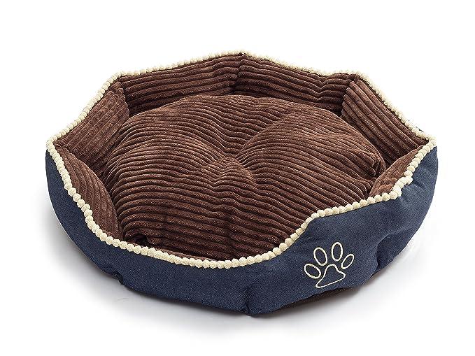 umoi cama para perros Comfort con cojín Reversible 57 * 52 * 12 CM Beige/Azul Beige/Marrón: Amazon.es: Productos para mascotas