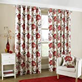"""One pair of Tokyo Eyelet header Curtains in Red, Size: 66x90"""" (168 x 229 cm) width x drop"""