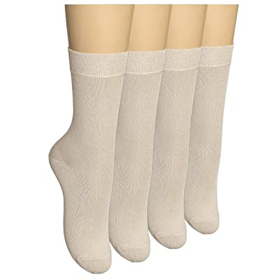 ELYFER Women's Cotton Crew Dress Socks Business casual With Gift Box (4 Pack) at Women's Clothing store
