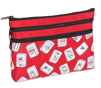Mah Jongg Red Color Tiles 3 Zipper Mah Jong Purse for Mahjong Card