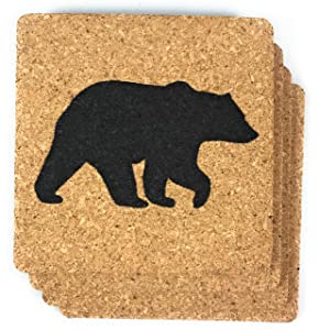Black Bear Cork Coasters 6 Pack Log Cabin Decor for Home Kitchen and Bar Gift