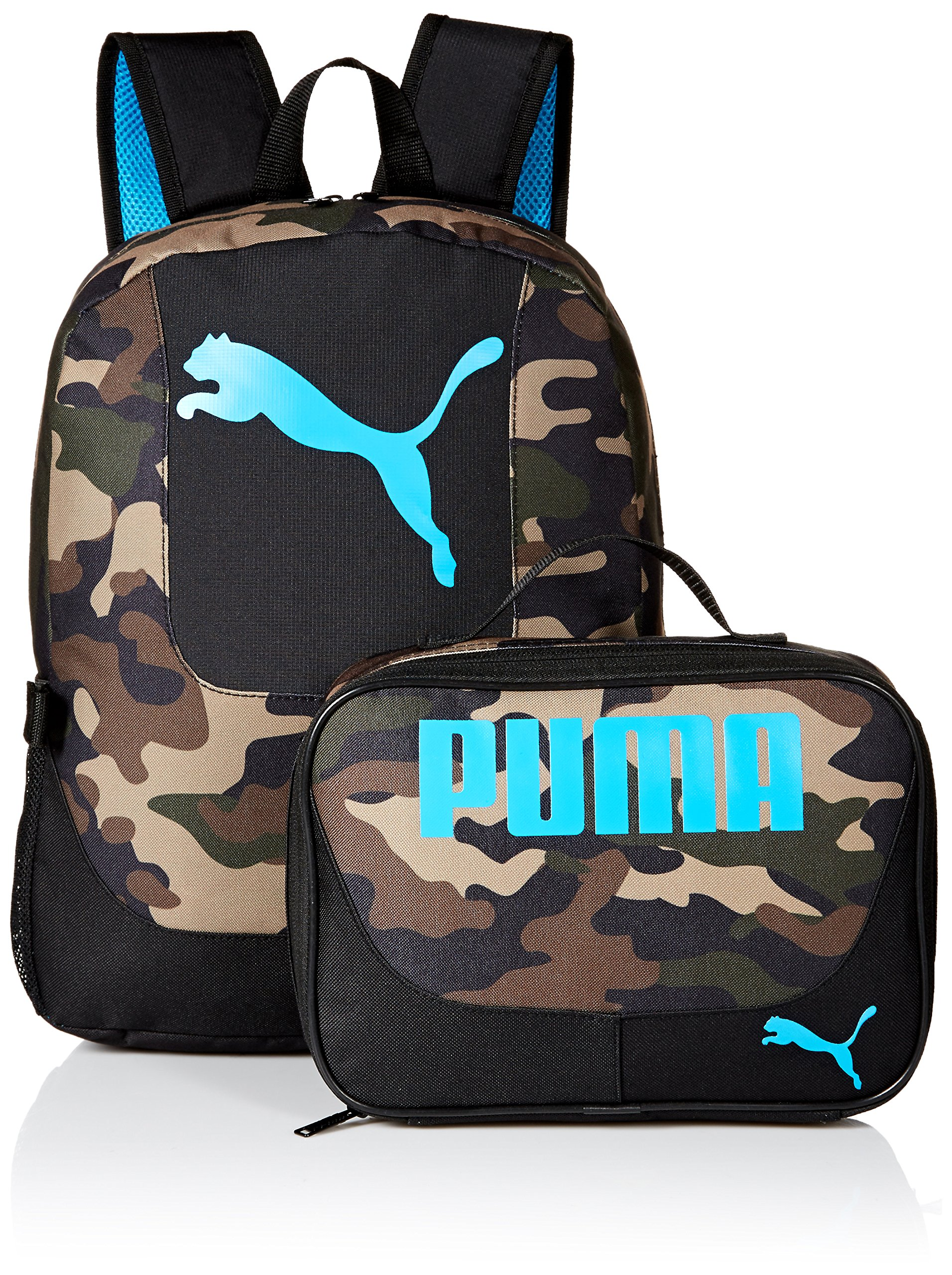 PUMA Little Boys' Backpacks and Lunch Boxes, Camo/Blue Kit, Youth