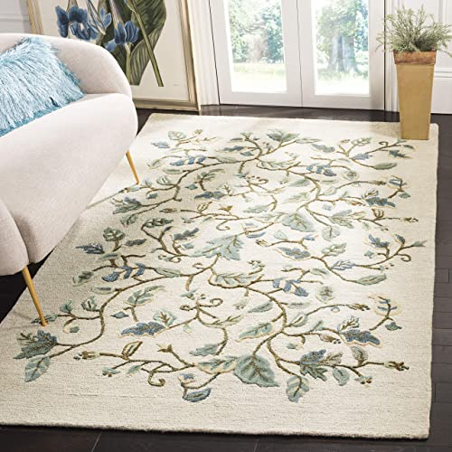 Safavieh Martha Stewart Collection MSR3611C Premium Wool and Viscose Autumn Woods Colonial Blue Area Rug 8 x 10