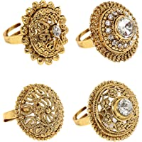 Zaveri Pearls Ring for Women (Golden)(ZPFK6031)