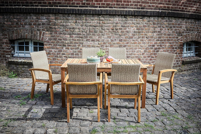 Ribelli® Norderney - Mesa de jardín de madera para jardín, terraza y Balcón, de color marrón, de acacia maciza, rectangular, impermeable para exterior: ...