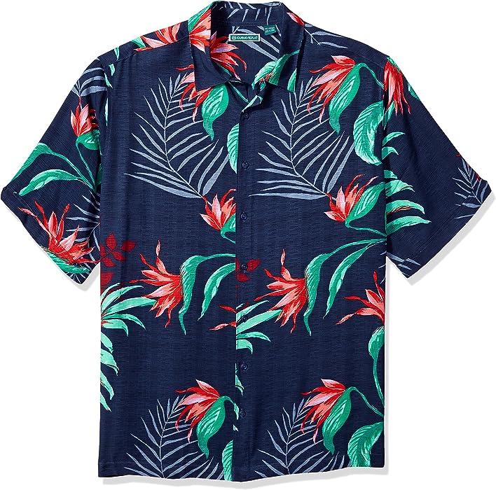 5e86cd14 Cubavera Men's Short Sleeve 100% Rayon Point-Collar Tropical Floral Print  Shirt, Mood