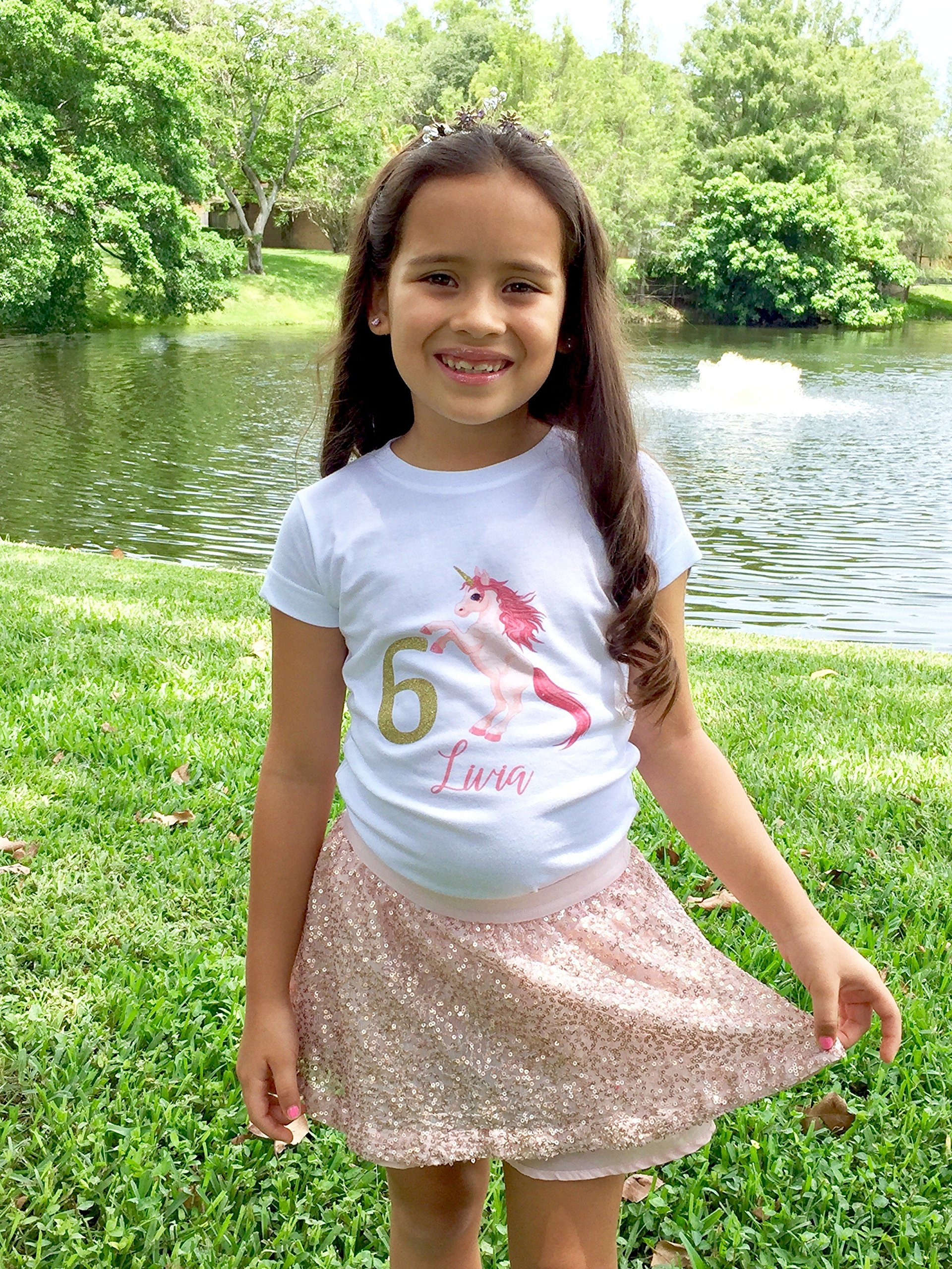 NanyCrafts' Personalized Unicorn Birthday Gold Glitter Girl's Shirt 9/10Y White by NanyCrafts (Image #3)