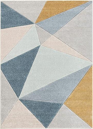 Well Woven Ruby Tamara Blue Mid-Century Modern Geometric 7'10″ x 10'6″ Area Rug