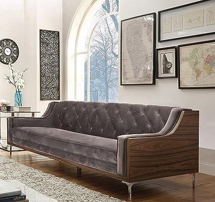 Iconic Home Clark Modern Contemporary Light Grey Velvet Tufted Swoop Arm  Sofa with Walnut Finish Silvertone Chrome Legs