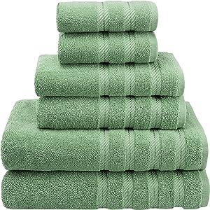 American Soft Linen 6-Piece 100% Turkish Genuine Cotton Premium & Luxury Towel Set for Bathroom & Kitchen, 2 Bath Towels, 2 Hand Towels & 2 Washcloths [Worth $72.95] - Sage Green