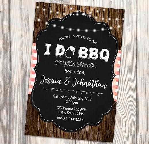 i do bbq bridal shower invitation summer barbecue couples shower invite rustic picnic