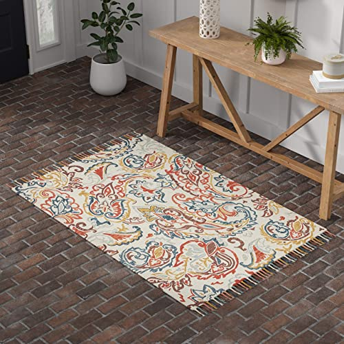 Stone Beam Swirling Paisley Farmhouse Motif Wool Area Rug, 4 x 6 Foot, Multi