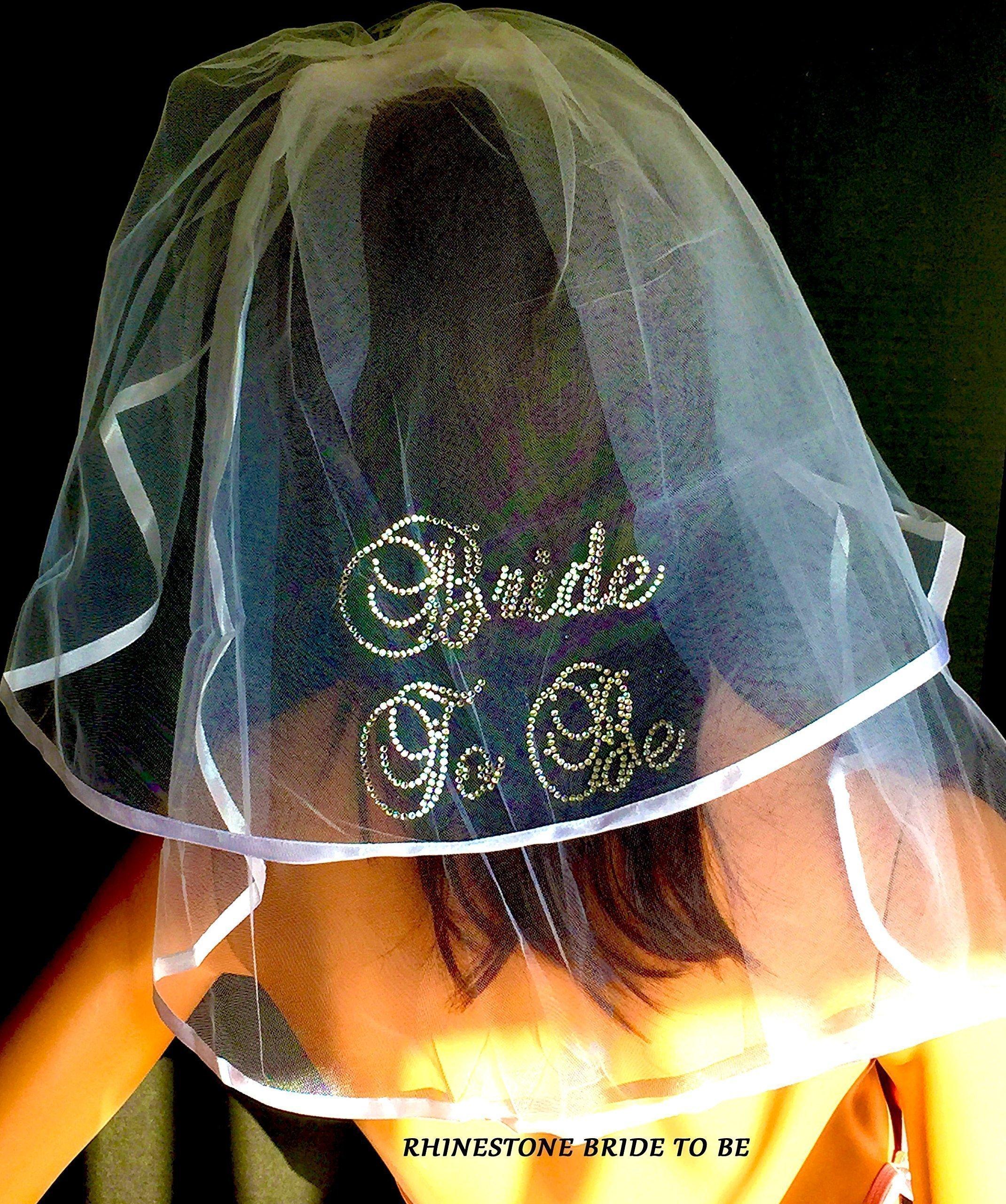 Rhinestone Bride To Be Veil, Bridal Shower Veil, Wedding Veil by SashANation