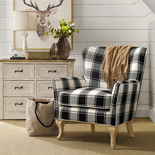 Dorel Living Middlebury Checkered Pattern Accent Chair, Black White Checkered
