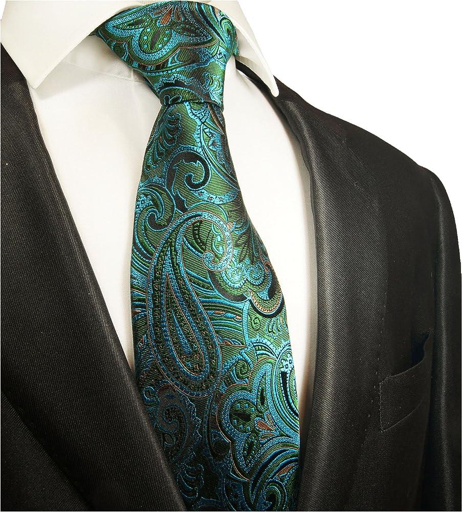 Paul Malone Corbata de seda verde paisley azul turquesa: Amazon.es ...