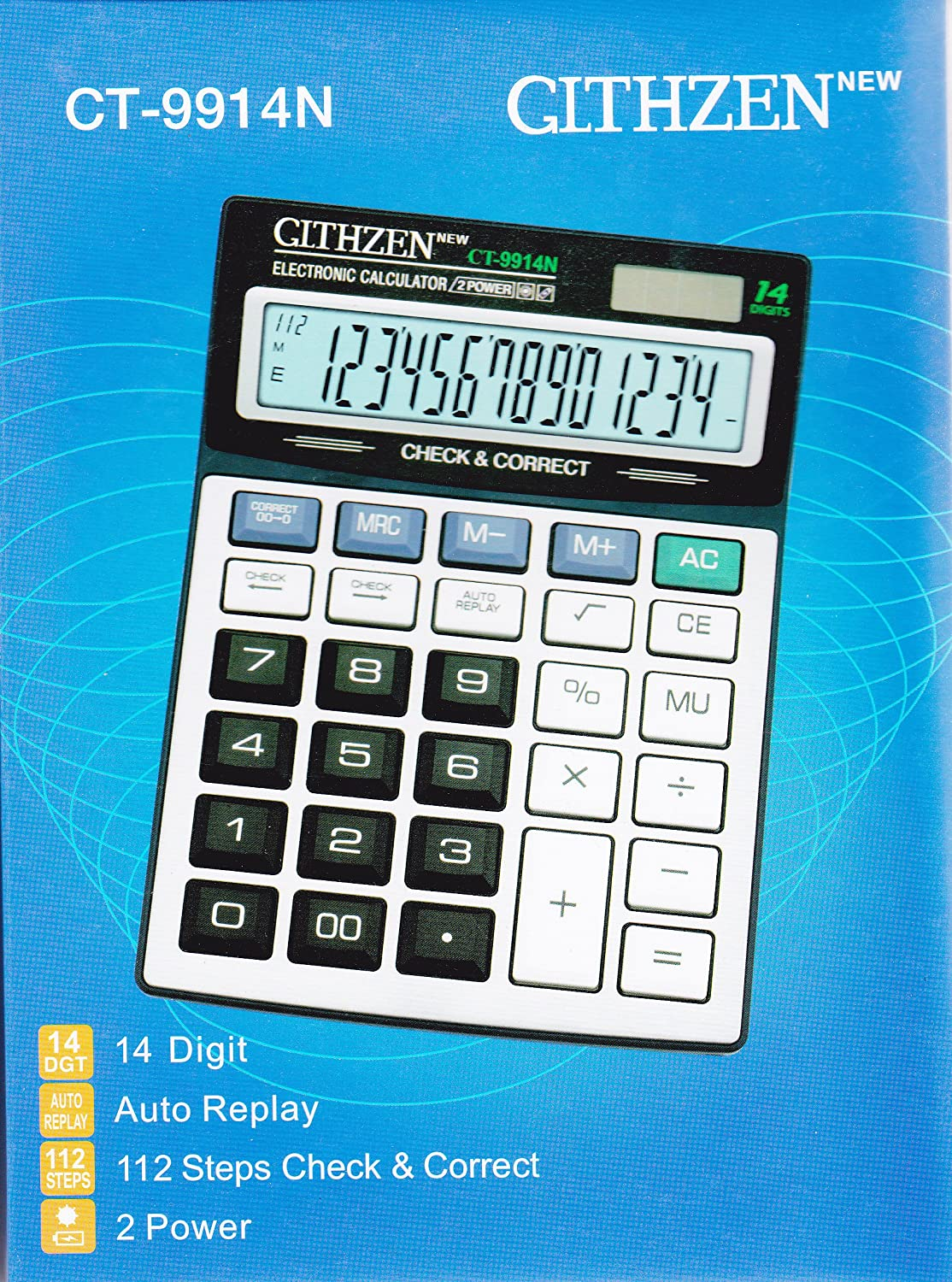 Clthzen CT-9914N Large Display Electronic Calculator Two Way Power ...