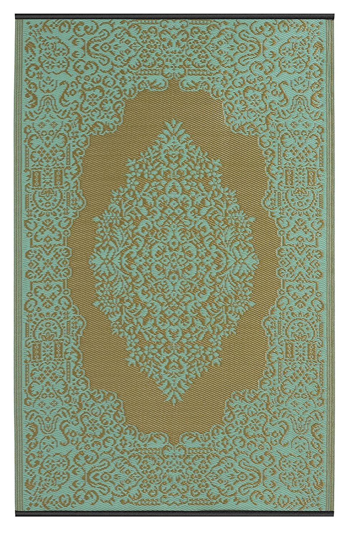 Fab Hab - Istanbul - Hellblau & Bronze - Teppich/ Matte für den Innen- und Außenbereich (120 cm x 180 cm)