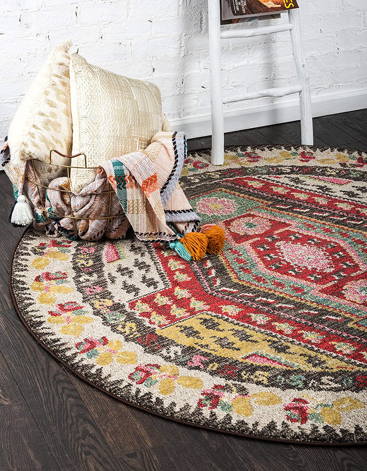 Unique Loom Sedona Collection Over-Dyed Tribal Geometric Multi Round Rug (6' 0 x 6' 0)