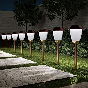"Pure Garden 50-LG1060 Solar Path, Set of 8-16"" Tall Stainless Steel Outdoor Stake Lighting for Garden, Landscape, Yard, Driveway, Walkway, Copper"