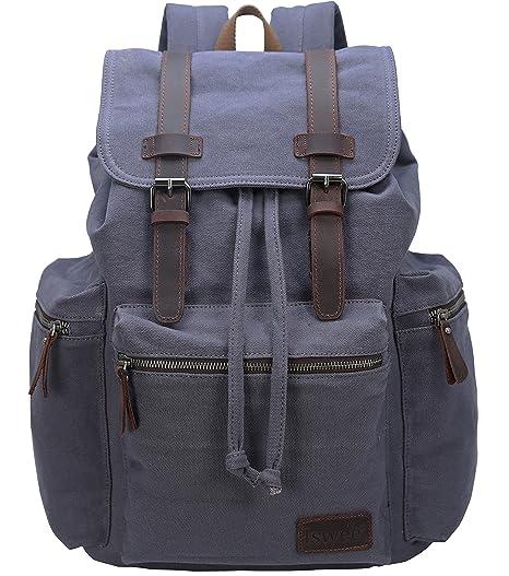 Amazon.com: Mochila de lona iswee Vintage mochila unisex ...