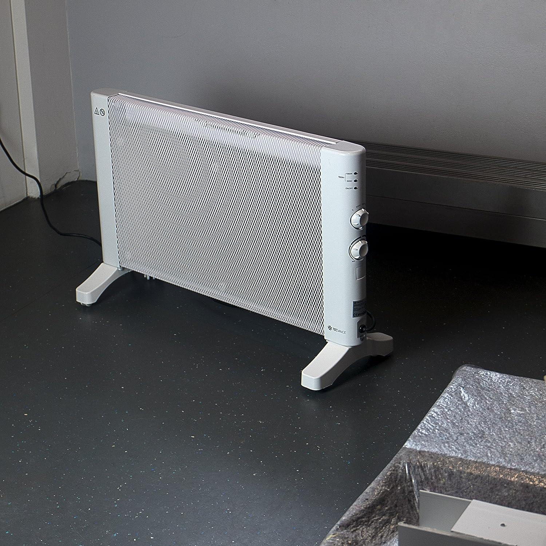 Tecvance Chauffage mobile Vagues de Chaleur avec Thermostat 3 Niveaux de Chaleur r/églable Radiateur sur Roulettes ou fix/ée au Mur