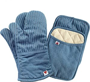 Big Red House Oven Mitts and Pot Holders Sets, with The Heat Resistance of Silicone and Flexibility of Cotton, Recycled Cotton Infill, Terrycloth Lining, 480 F Heat Resistant Pair Blue Denim