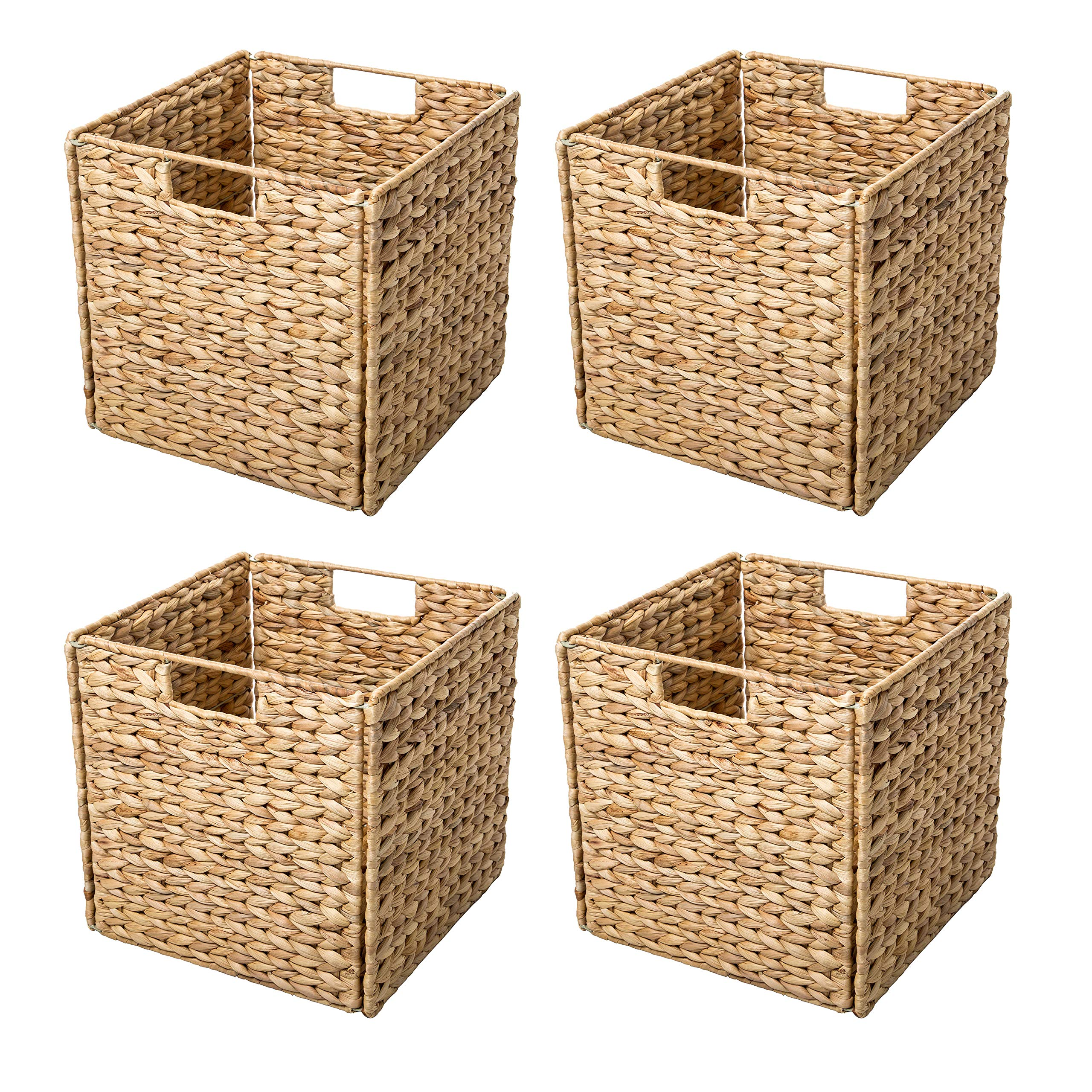 Trademark Innovations Foldable Hyacinth Storage Baskets with Iron Wire Frame (Set of 4) by Trademark Innovations