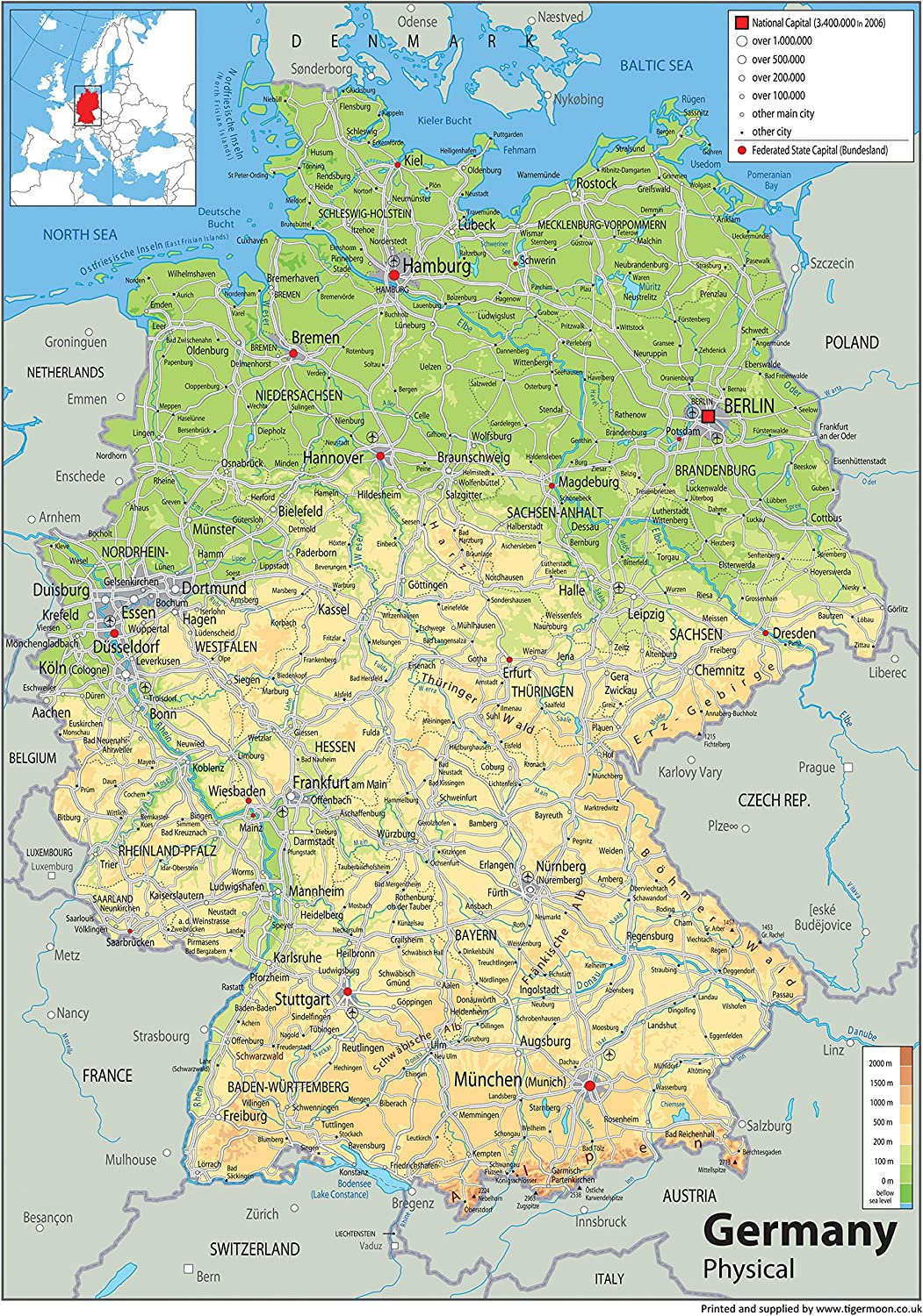 La Germania Cartina Politica.Germania Mappa Fisica Carta Plastificata A1 Misura 59 4 X 84 1 Cm Amazon It Cancelleria E Prodotti Per Ufficio