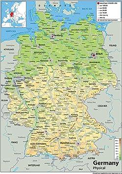 Immagini Cartina Geografica Germania.Germania Mappa Fisica Carta Plastificata A1 Misura 59 4 X 84 1 Cm Amazon It Cancelleria E Prodotti Per Ufficio