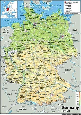 karte physisch deutschland Physische Karte Deutschland   Papier laminiert   Format A0 84,1 x
