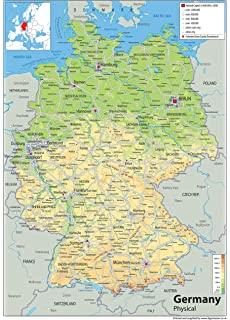 Italy Physical Map Paper Laminated A Size X Cm - Germany physical map
