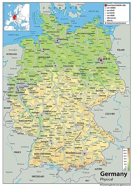 Cartina Geografica Della Germania.Germania Mappa Fisica Carta Plastificata A1 Misura 59 4