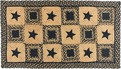 IHF Home Decor Country Star Black | Accent Durable Floor Carpet Multicolor Handcrafted