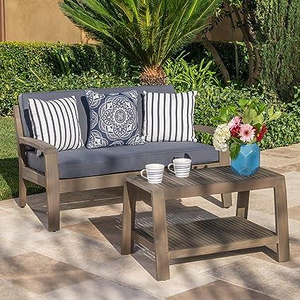 Prime Christopher Knight Home 303455Grenada Ckh Outdoor Chat Set Grey Finish And Dark Grey Evergreenethics Interior Chair Design Evergreenethicsorg