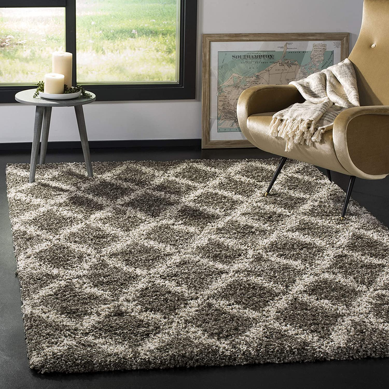 SAFAVIEH Hudson Shag Collection SGH333B Moroccan Trellis Non-Shedding Living Room Bedroom Dining Room Entryway Plush 2-inch Thick Area Rug, 6' x 9', Grey / Ivory