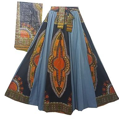 7647110664 Decoraapparel Women's Denim Skirt Long Dashiki Maxi Skirt High Waist Skirt  Plus Size (Black Light