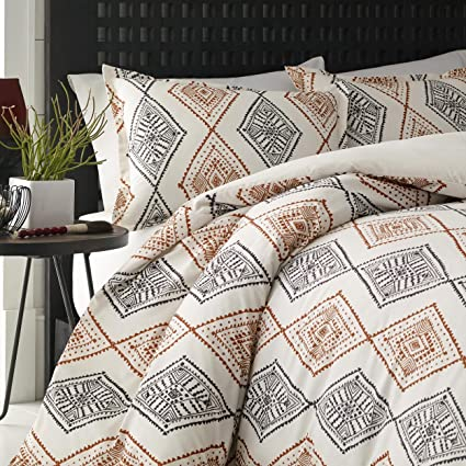 3 Piece Burnt Orange Grey Off White Aztec Southwest Theme Duvet Cover King  Set, Beautiful