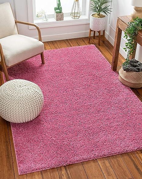 Amazon Com Solid Retro Modern Pink Shag 3x5 3 3 X 5 3 Area Rug Plain Plush Easy Care Thick Soft Plush Living Room Kids Bedroom Home Kitchen