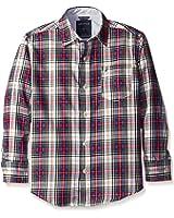 Nautica Boys' Loft Plaid Long Sleeve Woven Shirt